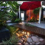 ایده های کف سازی باغچه و حیاط با سنگ و چوب