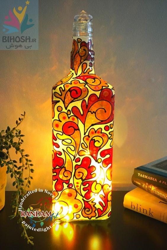 آموزش نقاشی روی بطری شیشه ای + ایده های زیبا