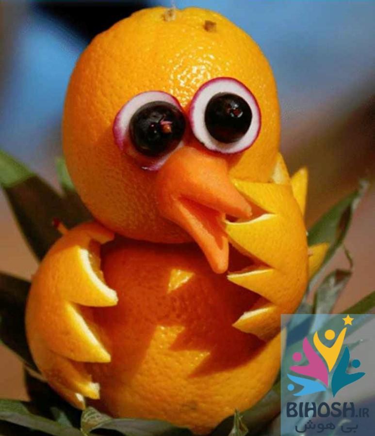 آموزش میوه آرایی با پرتغال طرح جوجه