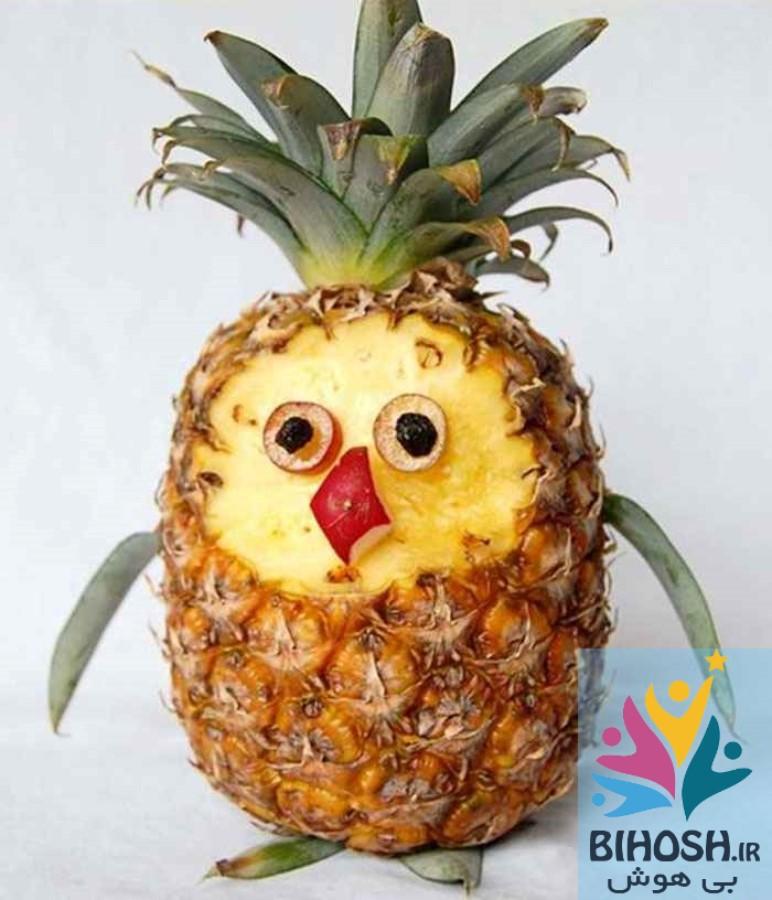 آموزش میوه آرایی با آناناس طرح جوجه