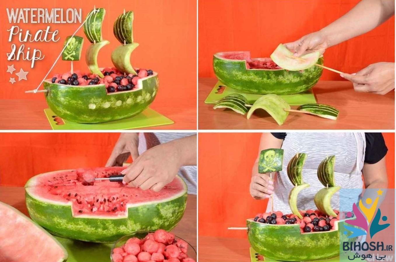 آموزش میوه آرایی سبد میوه با هندوانه طرح کشتی