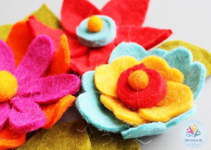 آموزش ساخت 3 مدل گل نمدی جذاب