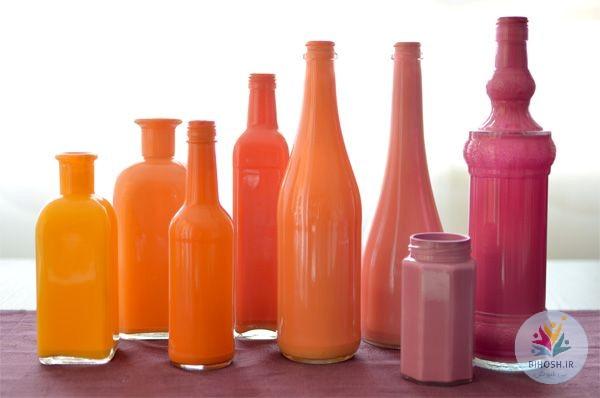 آموزش رنگ آمیزی بطری های شیشه ای