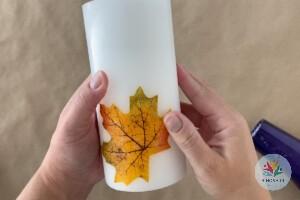 آموزش شمع سازی با برگ پاییزی