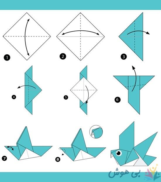 آموزش اوریگامی گنجشک