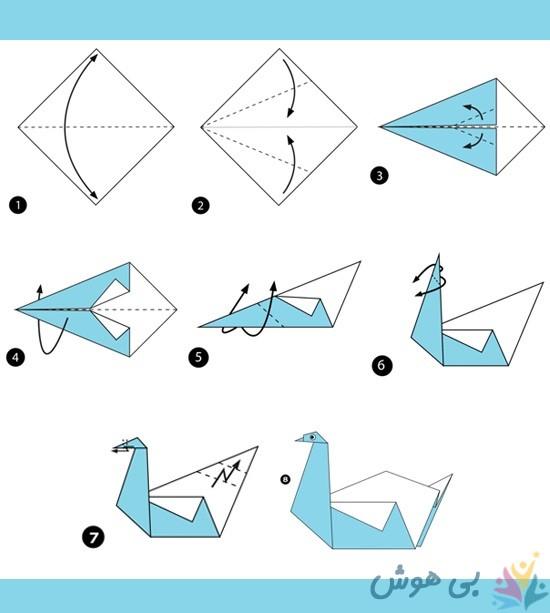 آموزش اوریگامی قو