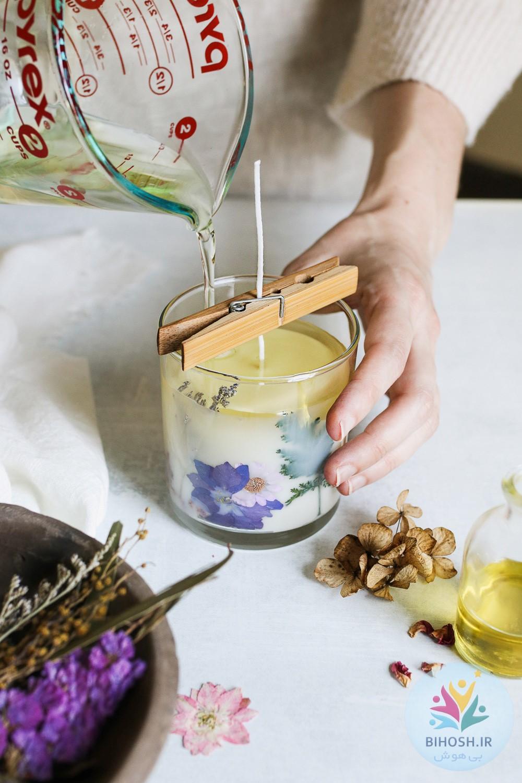 آموزش شمع سازی با گل خشک