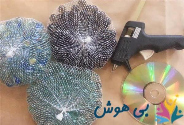 ساخت گلدان با سی دی و تیله