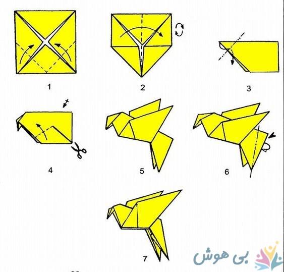 آموزش اوریگامی پرستو