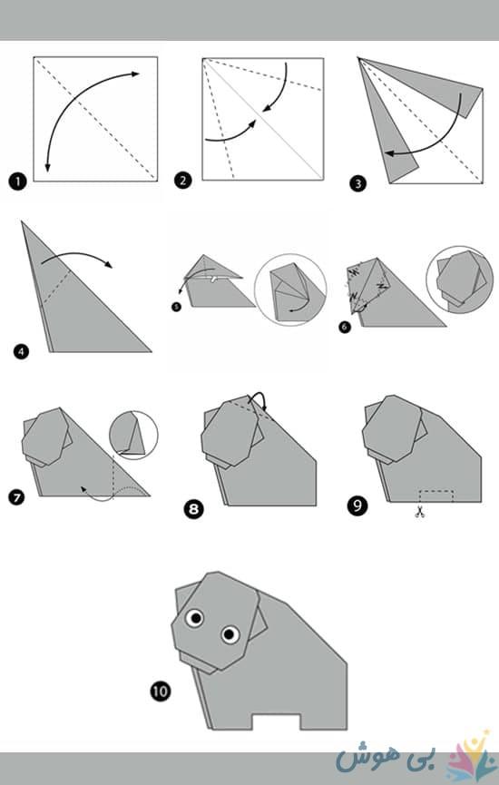 آموزش اوریگامی اسب آبی